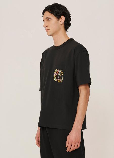 YMC Dragon Organic Cotton Piece Dyed T Shirt - Black
