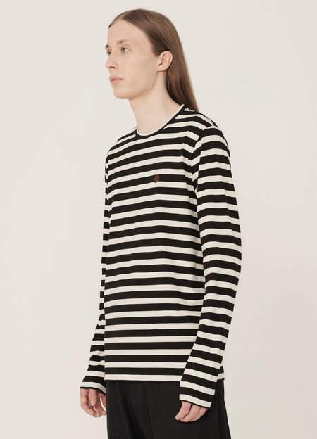 YMC Thurston Organic Cotton Stripe T Shirt - Black Ecru