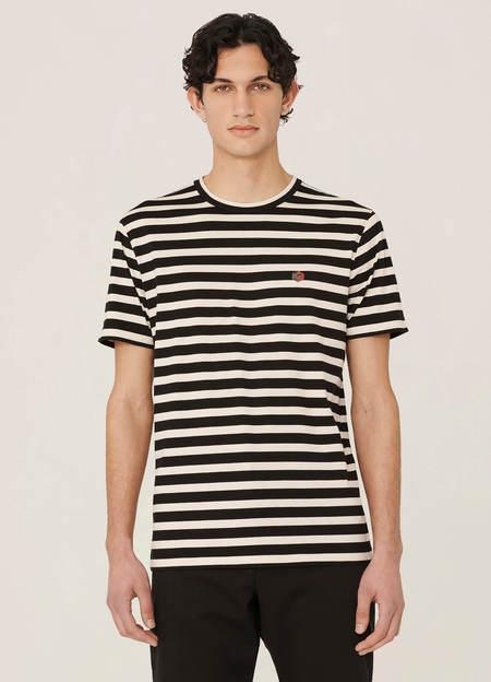 YMC Wild Ones Organic Cotton Stripe T Shirt - Black Ecru