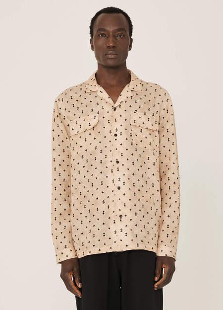 YMC Feathers Cotton Silk Card Print Shirt - Ecru