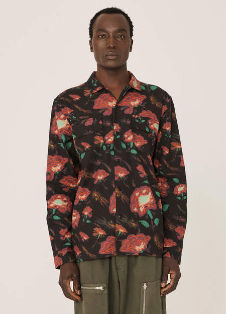 YMC  Feathers Cotton Floral Print Shirt - Black