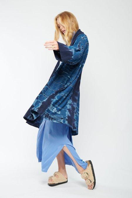 Raquel Allegra Swing Tie Dye Coat - NAVY STORM