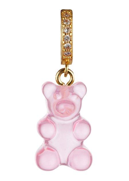 Crystal Haze Nostalgia Bear Pendant Pave Connector - Bubblegum Pink