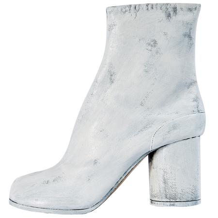 Maison Margiela Tabi painted leather ankle boots-White