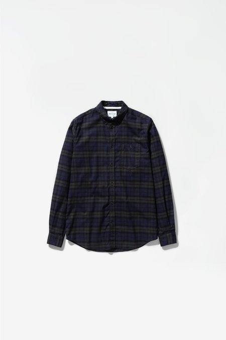 Charcoal Melange Anton Brushed Flannel Shirt - Check Black Watch Check