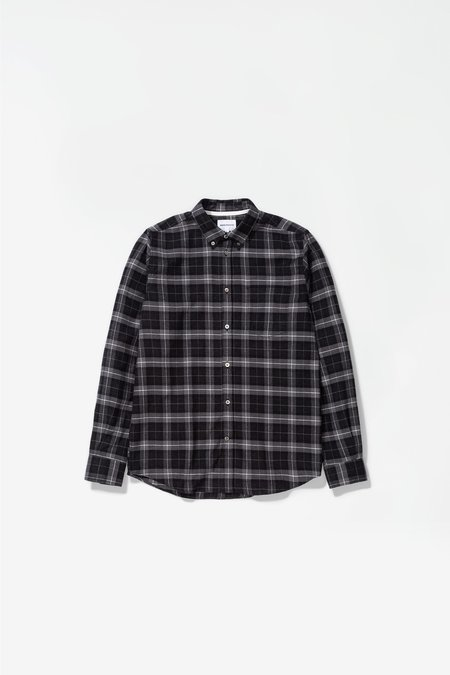 Norse Projects Anton Brushed Flannel Check Shirt - Charcoal Melange