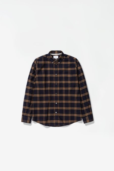 Norse Projects Anton Brushed Flannel Shirt - Check Shale Stone