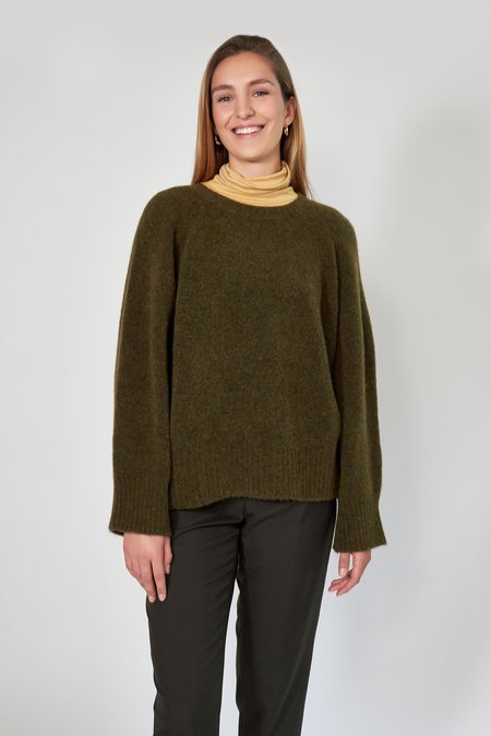 House of Dagmar Emily Roundneck Sweater - Olive
