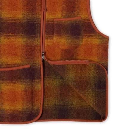 Universal Works Wool Fleece Check Zip Waistcoat Gilet - Gold Claret