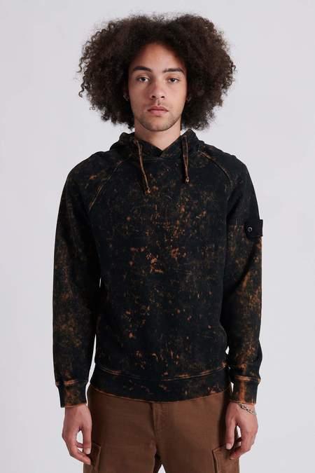 Stone Island Cotton Fleece Off-Dye OVD Treatment Hooded Sweat Shirt - Black