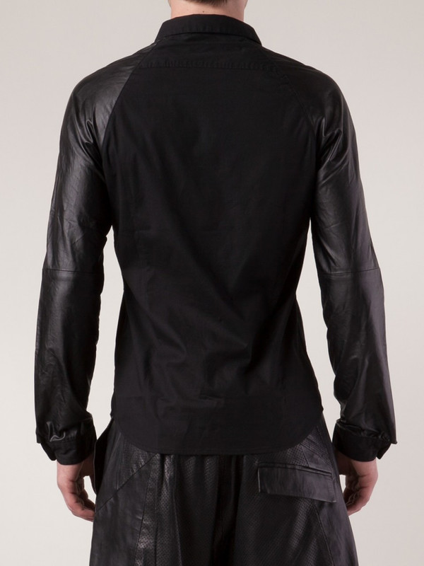 Sons Of Heroes Faux leather sleeve shirt
