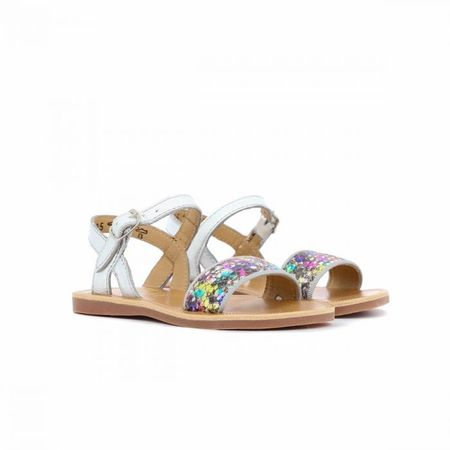 Pom D'Api Plagette Buckle Silver Leather Sandal With Fantasy Strap