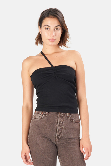 Women's AGOLDE Lola Gathered Front Tank Top - Black
