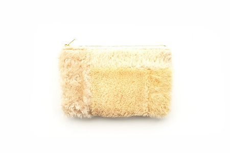Primecut Yellow And Beige Patchwork Sheepskin Clutch