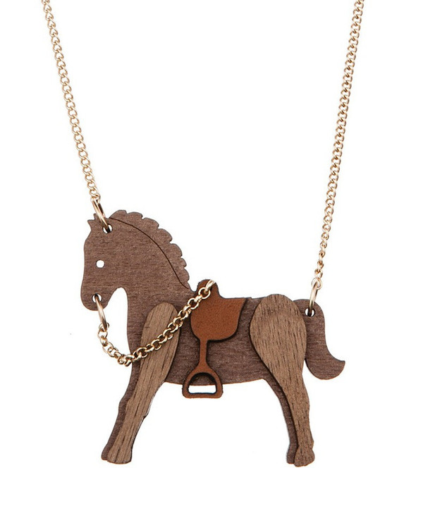 Tatty Devine Wooden Horse Necklace
