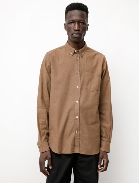Norse Projects Anton Brushed Flannel Shirt - Taupe