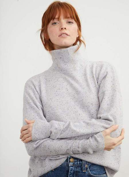 Autumn Cashmere Relaxed Mock Neck w/cuff Detail sweater - Cinder