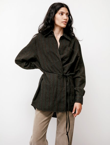 Our Legacy Long Wrap Shirt - Olive Brown Melange Stripe
