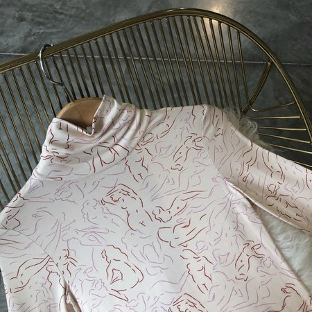 Crocus La Femme Turtleneck Fitted Long Sleeve Top - lavender/Rust