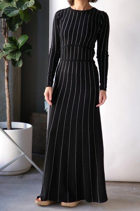 Victor Glemaud L/S Knit Maxi Dress - Black/White