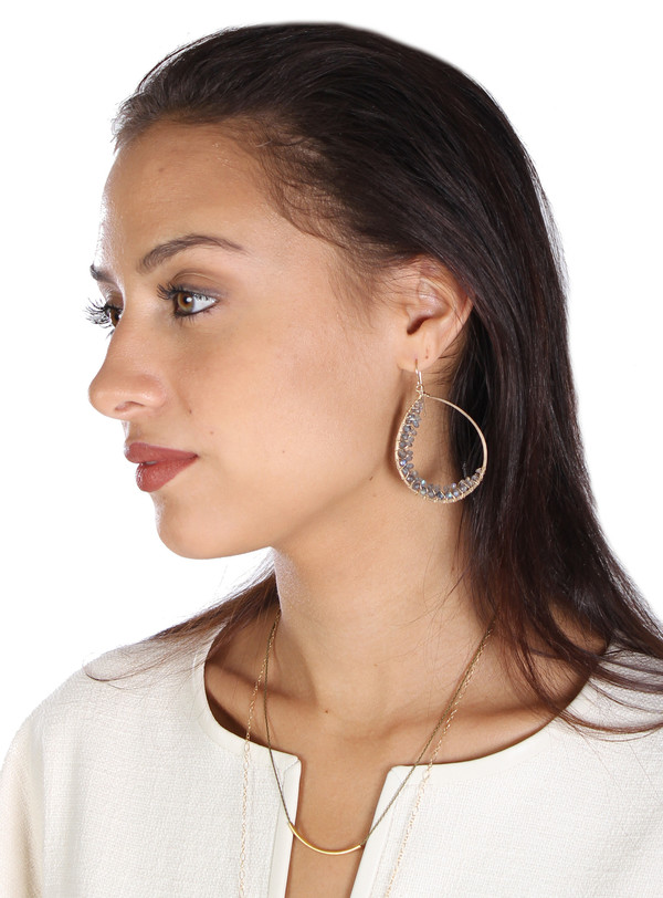 James and Jezebelle Labradorite Wrapped Large Hoops