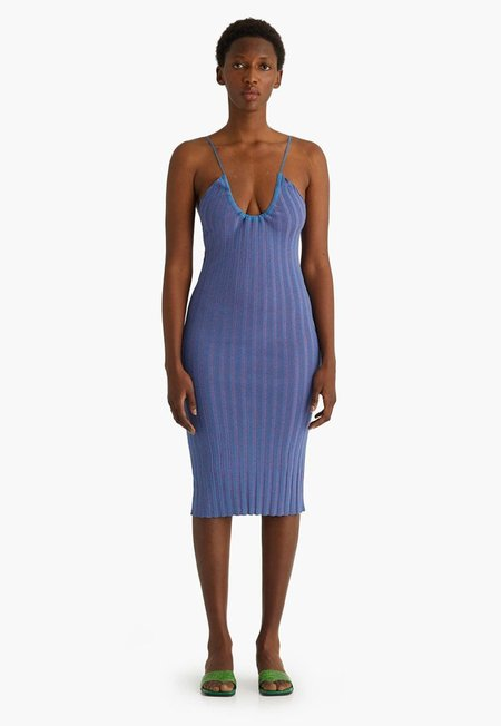 Paloma Wool Jenny Bi-color Rib Knit Dress - Blue