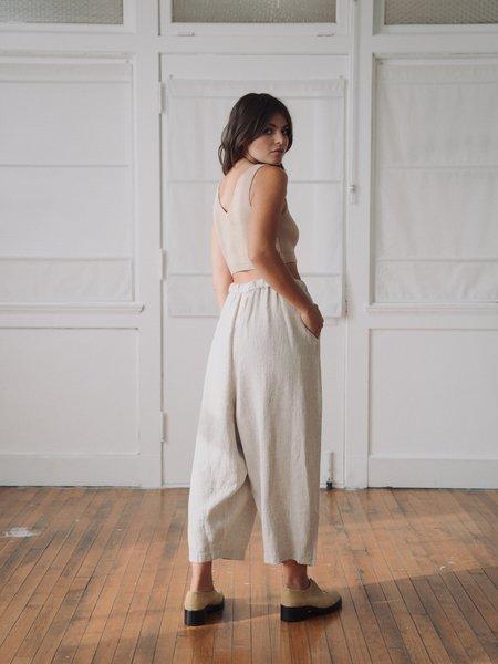 Mónica Cordera linen pleat pants - natural