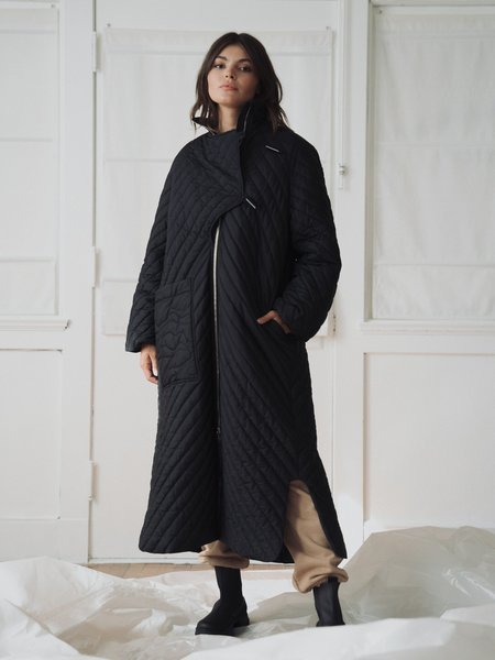Ganni Recycled Ripstop Quilt Coat - Black