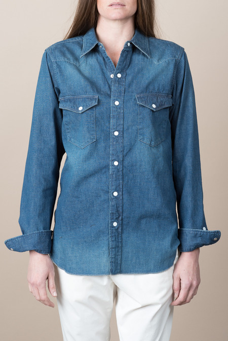 Chimala Unisex Nep Denim Western Shirt In Vintage Dark