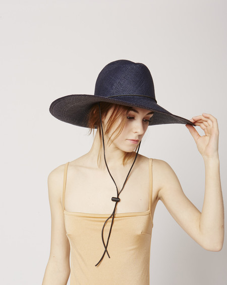 Brookes Boswell Boro navy straw hat