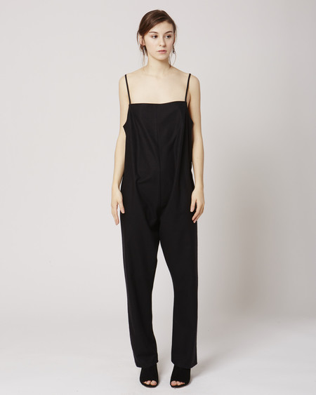 Baserange Shankar raw silk jumpsuit in Black