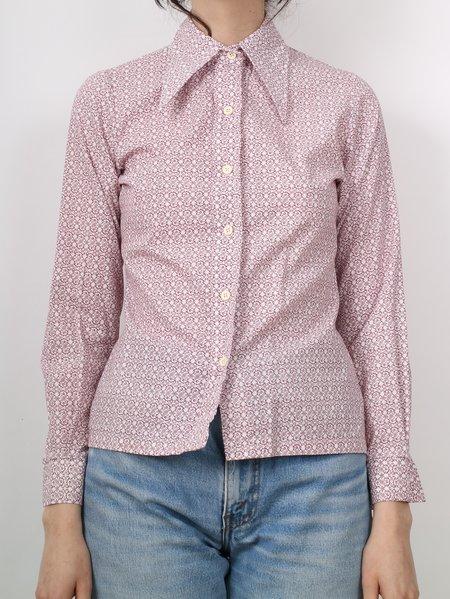 vintage 1970's pattern button down - white/pink/wine