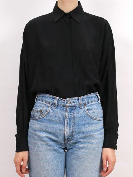 vintage NORMA KAMALI black silk blouse - black