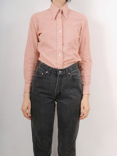 Vintage 70s pattern button down shirt - orange