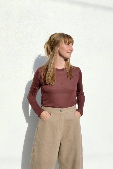 Baserange Bamboo Jersey Long Sleeve Tee - Ter Purple