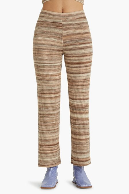 Fabia Ribbed Knit Pants - Light Brown