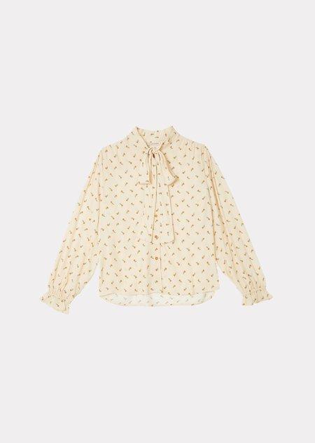 Caramel  Bow Shirt - Toffee Ditsy Flower Print