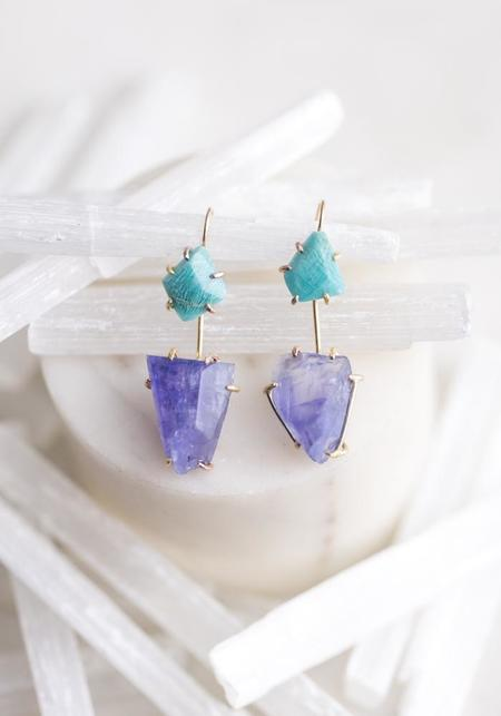 Variance Objects 14KT-18KT Gold Amazonite Hook Earrings - Gold