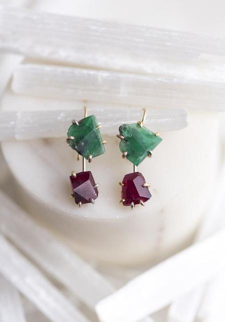 Variance Objects 14KT-18KT Gold Ruby Drops - Gold