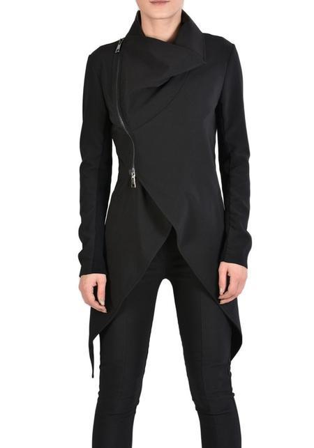 La Haine Asymmetric Stretch Shawl Collar Ulga Jacket - Black