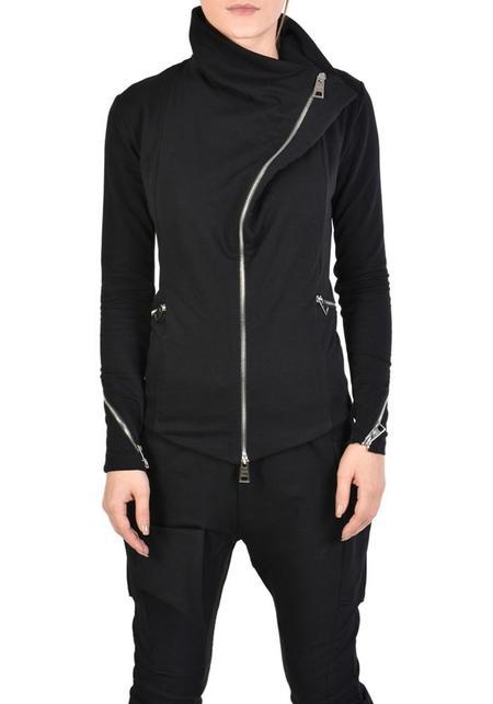 La Haine Bold Neck Zipper Detail Jersey Coha Jacket - Black