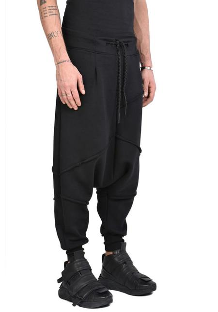 La Haine Bold Seam Detail Oversized Drop Seat Jersey Zona Pants - Black