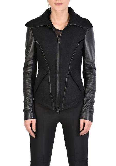 La Haine High Neck Zip Detail Boiled Wool and Leather Lita Jacket - Black