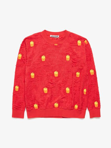 [Pre - Loved] Other Male Fries Embroidered Disterss Futer Reverced Sweatshirt - Red