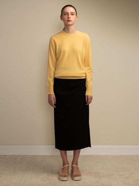 PURECASHMERE NYC Classic Crew Neck Sweater - Yellow