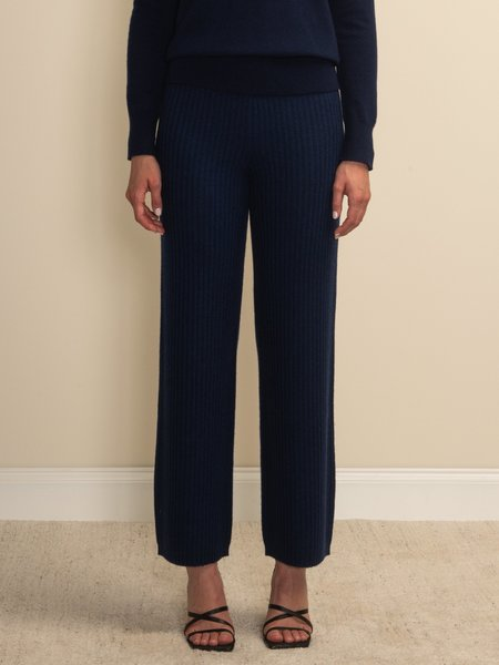 PURECASHMERE NYC Long Straight Fit Pants - Navy