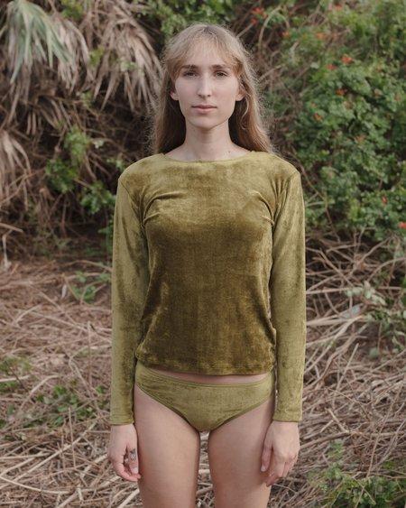 Baserange Omo Velvet Long Sleeve - Galti Green
