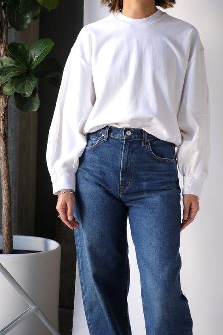 Bassike Cotton Back Crew Sweatshirt - White