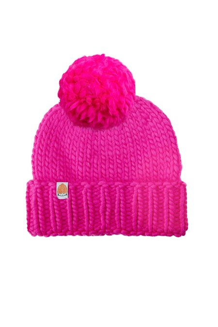 Shit That I Knit The Rutherford Wool Pom Beanie - Pink
