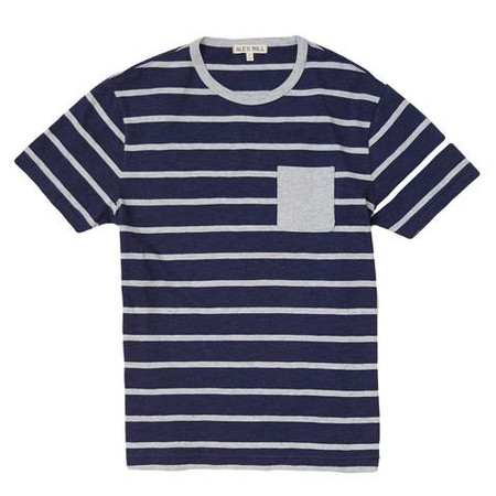 Alex Mill Far Stripe Short Sleeve Pocket Tee - Heathered Navy